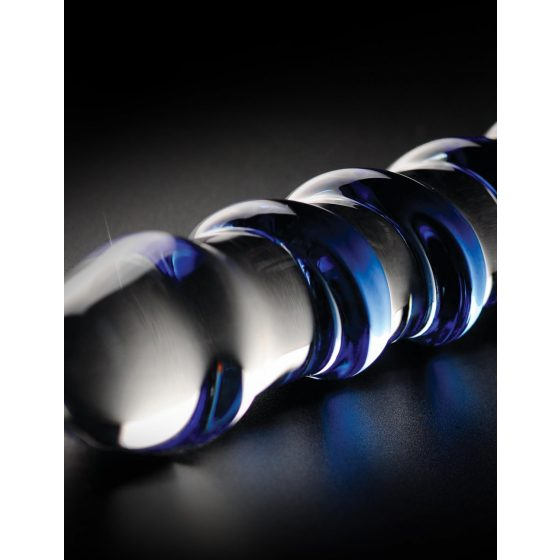 Pipedream Icicles No. 5 - skleněné spirálovité dildo (průsvitné-modré)