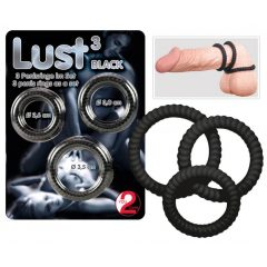 You2Toys Lust Black 3 - krúžky na penis čierne