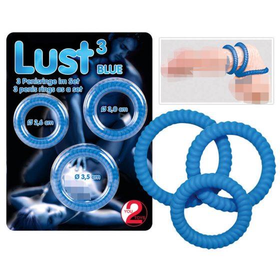 You2Toys Lust Blue 3 - krúžky na penis modré