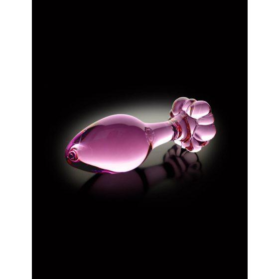 Pipedream Icicles No. 48 - skleněný anální kolík s kvítkem (růžový)