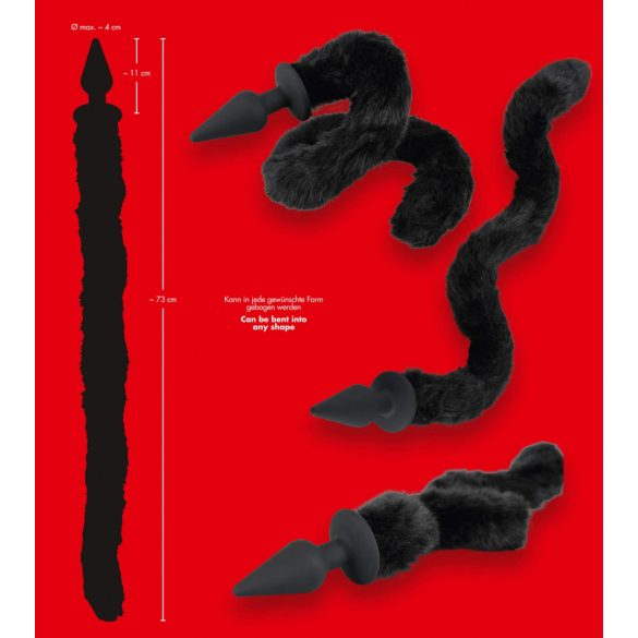 Bad Kitty Plug & Tall - Anální kolík s kočičím ocasem (černý)