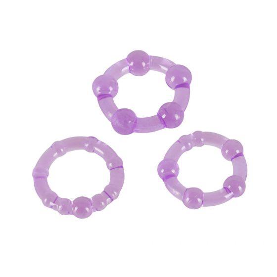 You2Toys Get Hard - krúžky na penis fialové (3 dielna sada)