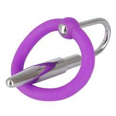 Penisplug - silikónový krúžok na žaľud so stimulátorom močovej trubice (fialovo-strieborný)