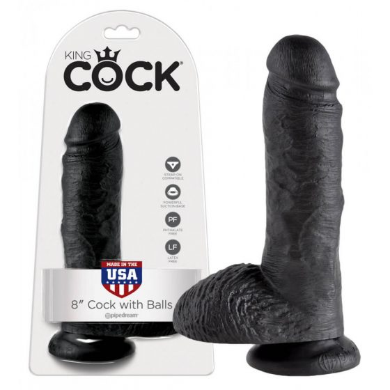King Cock 8 inch Balls - black