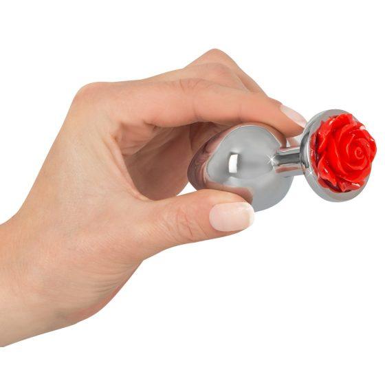 You2Toys Rose Butt Plug - hliníkové anální kolík 91 g (stříbrné - červené)