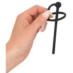 Penisplug - silikonový kroužek na varlata s dutým stimulátorem močové trubice (černý)
