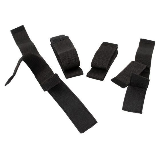Bad Kitty - sada na připoutání rukou k nohám (černá)