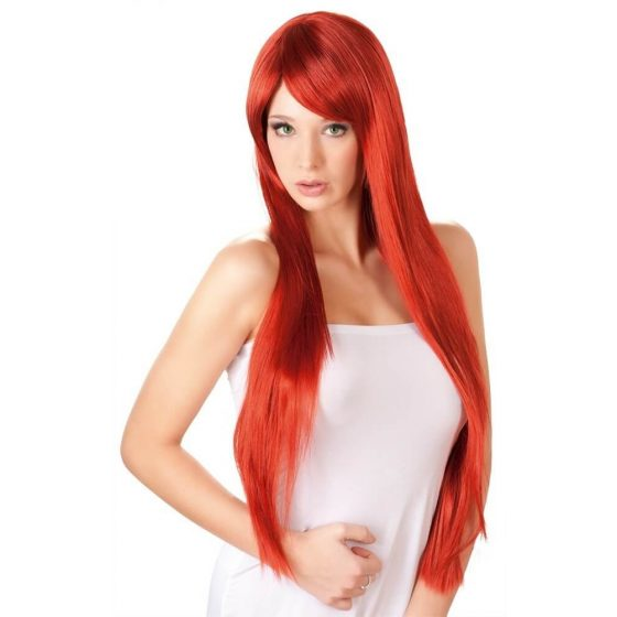 Extra dlouhá, červená paruka