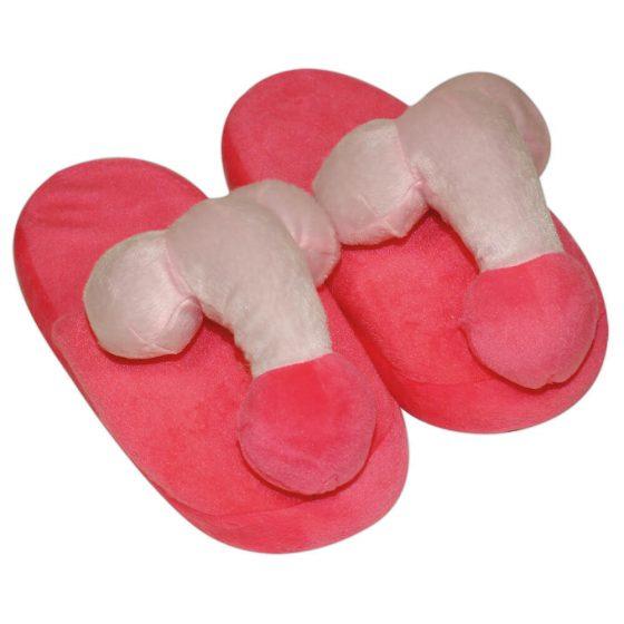 Penispuschen pink - růžové plyšové pantofle s penisem