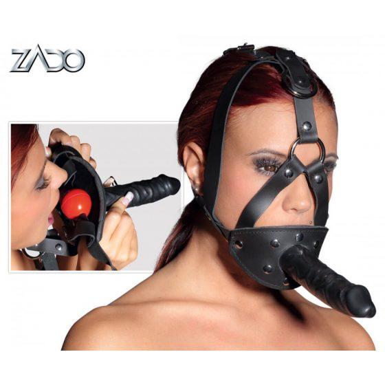 ZADO - kožená maska s kuličkou do úst a dildem