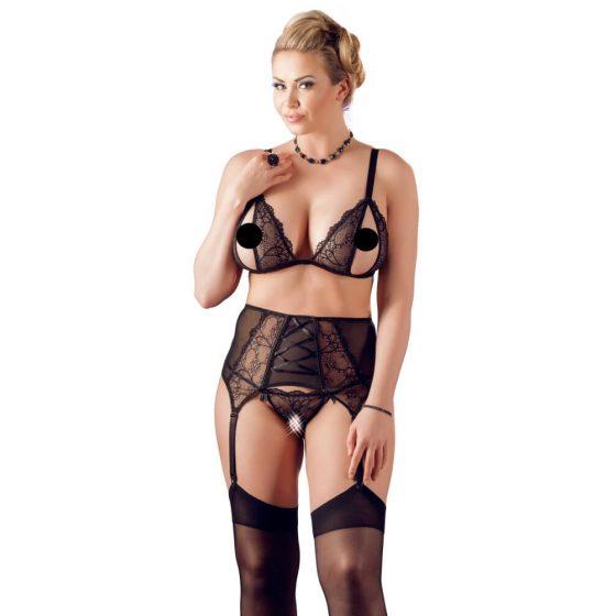 Cottelli Plus Size - krajková trojice spodního prádla (černá)