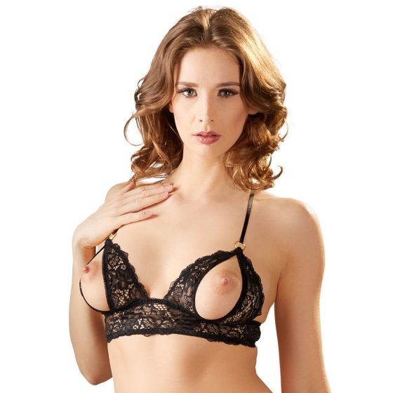 Cottelli - open lace bra and thong (black)