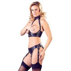 Cottelli Bondage - lesklá, otevřená souprava s pouty (černá)