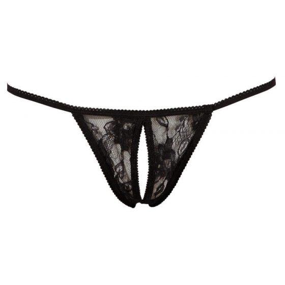 Otevřené krajkové tanga - černé