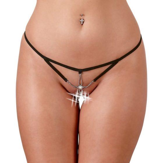 Cottelli - dámské mini kalhotky s kamínky (černé)