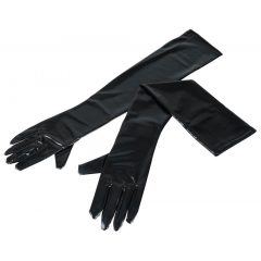 Dlouhé, lesklé rukavice - černé