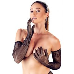 Cottelli Collection - Long Patterned Fishnet Gloves (Black)