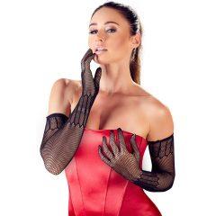 Cottelli Collection - dlouhé, vzorované punčochové rukavice (černé)