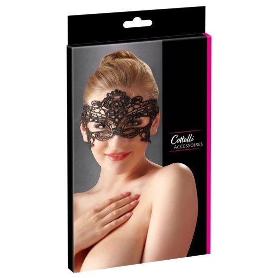 Cottelli - Vyšívaná maska na oči s efektem krajky (černá)