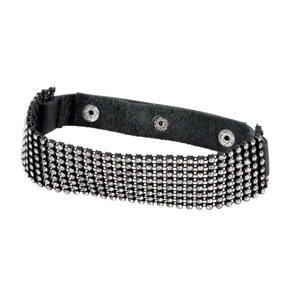 Bad Kitty colar - štrasový popruh na krk (černý)