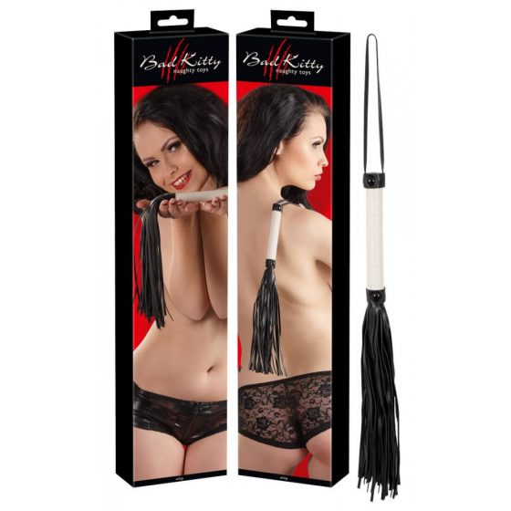 Bad Kitty - hanging artificial leather whip (white-black)