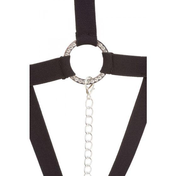 Bad Kitty - body z popruhů a kroužků s kamínky (černé)