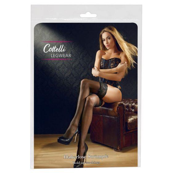 Cottelli - punčochy s 11cm-ovým krajkovým lemem (černé)