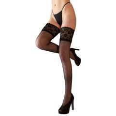 Cottelli Plus Size - punčochy s 15cm-ovým krajkovým lemem (černé)