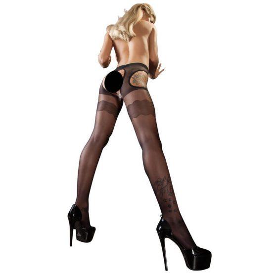 Cottelli Collection Sex Strumpfhose - sexy zvlněné punčochy (černé)
