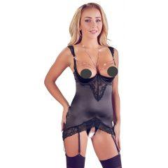 Abierta Fina - glitter chain top and thong (black)