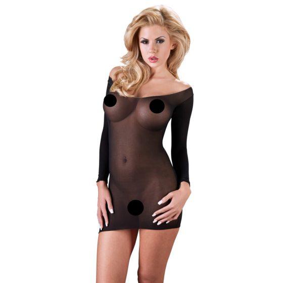 Mandy Mystery - průsvitné punčochové šaty s dlouhým rukávem (černé)