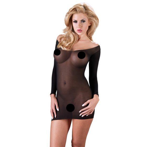 NO:XQSE - průsvitné punčochové šaty s dlouhým rukávem (černé)