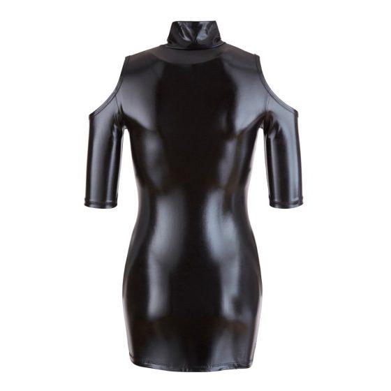 Cold Shoulder Wetlook Mini Dress
