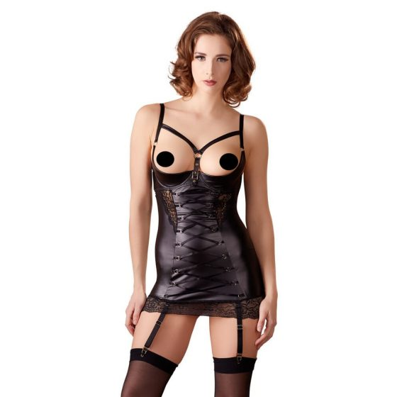 Lingerie Dress with Suspender Straps, Open Cups