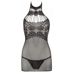Mandy Mystery - Lace Neck Fishnet T-Shirt (Black)
