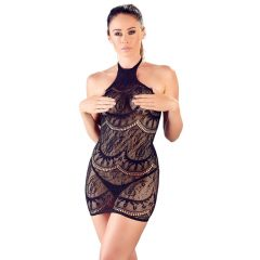 Mandy Mystery - Abstract Pattern Sleeveless Fishnet Dress with Thong (Black)