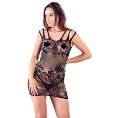 Mandy Mystery - triple floral fishnet dress with thong (black)