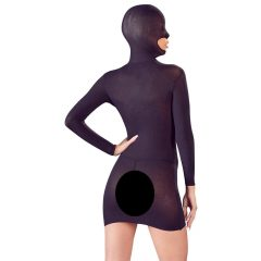 Mandy Mystery - masked, open mini dress with thong (black)