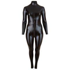 Cottelli Plus Size - lesklý party overal s dlouhým rukávem (černý)