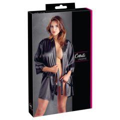 Cottelli Collection - krátké, saténově-krajkové kimono (černé)