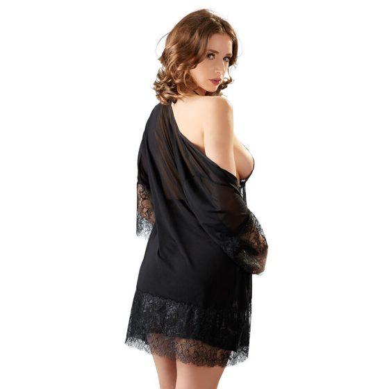 Cottelli - lace neglige set - black (3 pieces)