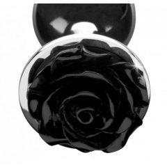 Booty Sparks Black Rose - 79g-ové hliníkové anální dildo (stříbrno-černé)