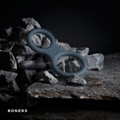 BONERS Silicone Cock Ring And Ball Stretcher - Grey