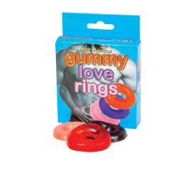 Kroužek na penis s gumových bonbónů (3ks) - příchuť třešeň