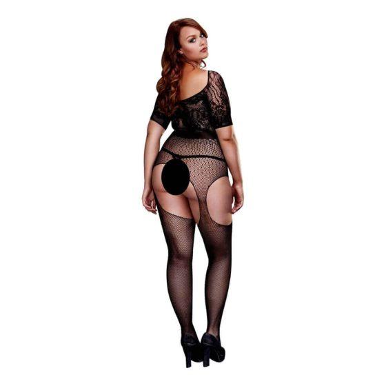 Baci Plus Size - erotické punčochové body (černé)