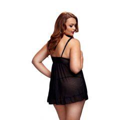 Baci Plus Size - tečkované, na prsou otevřené babydoll (černé)