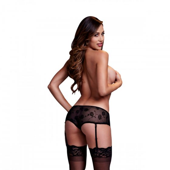 Baci - Black Rose Open Crotch Boyshort Panty S