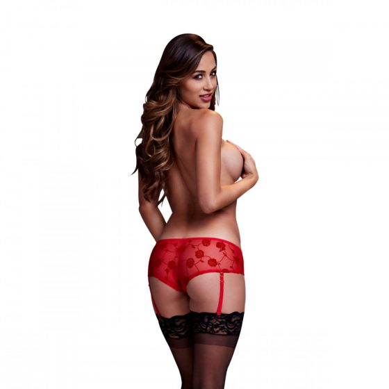 Baci - Red Rose Open Crotch Boyshort Panty S