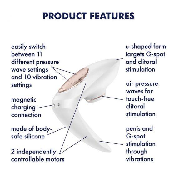 Satisfyer Pro 4 Couples - nabíjecí párový vibrátor a stimulátor klitorisu (bílý)