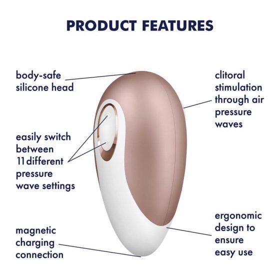 Satisfyer Deluxe - vodotěsný nabíjecí vibrátor na klitoris (béžově bílý)